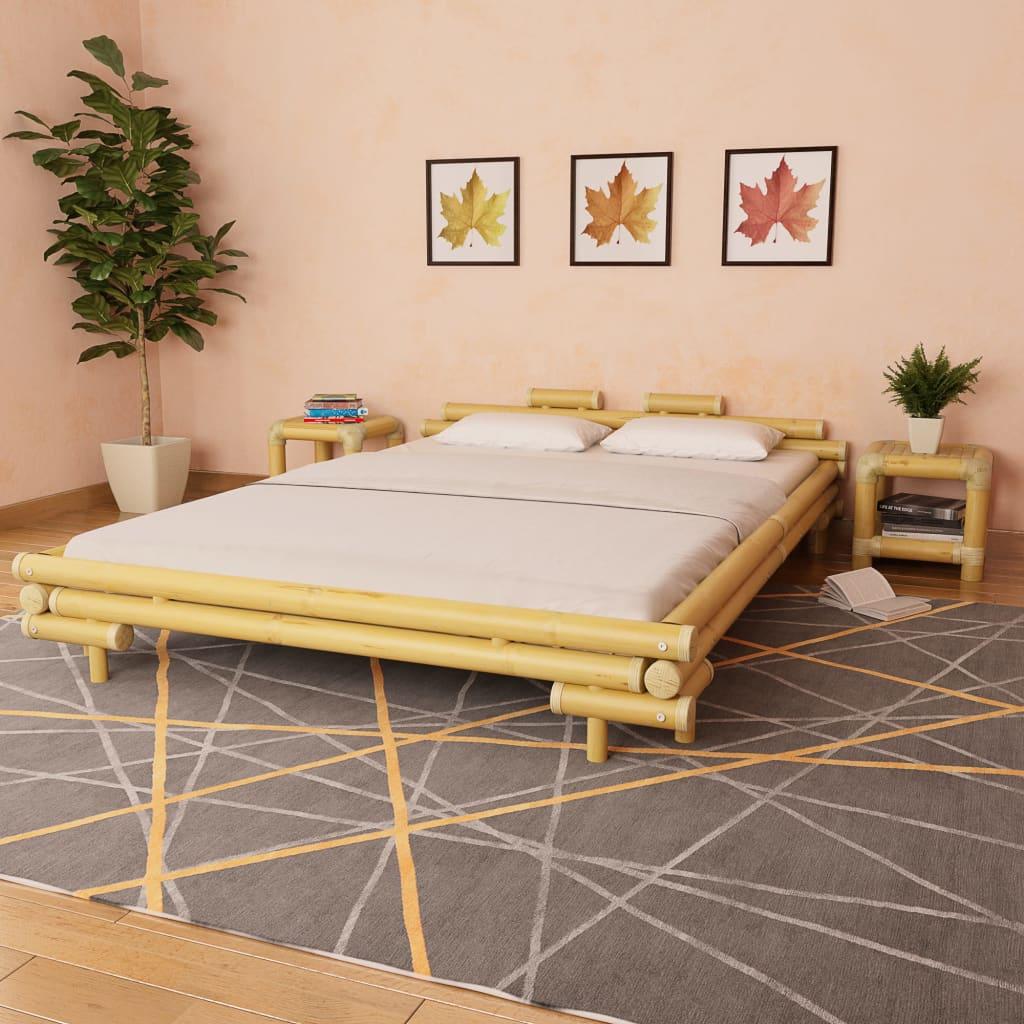 vidaXL Κρεβάτι Φυσικό Χρώμα 160 x 200 εκ. από Μπαμπού