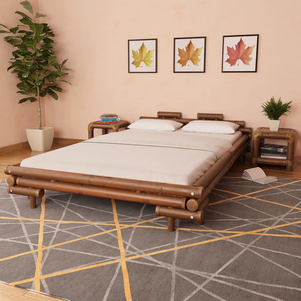 vidaXL Bambusová postel, 140x200 cm, tmavě hnědá