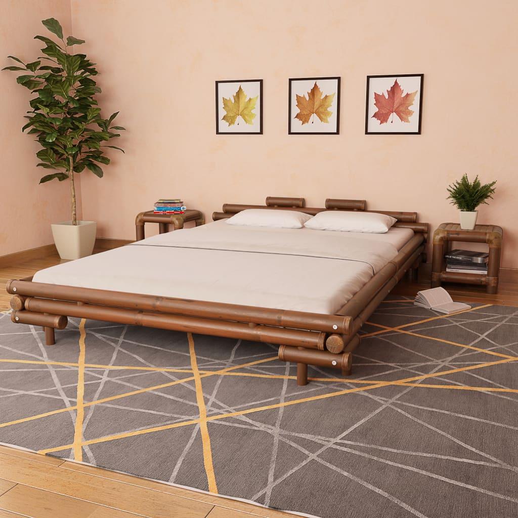vidaXL Bambusová postel, 160x200 cm, tmavě hnědá