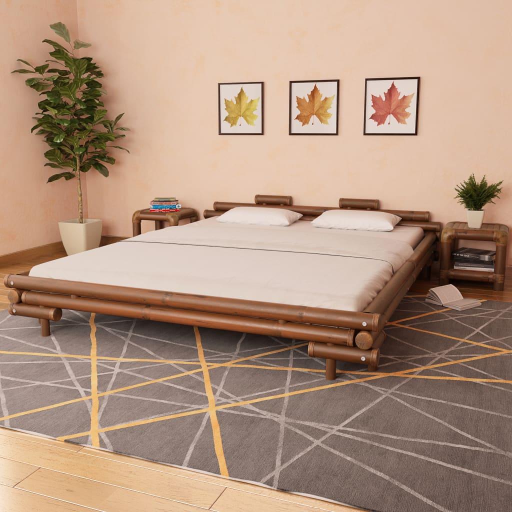 vidaXL Bambusová postel, 180x200 cm, tmavě hnědá