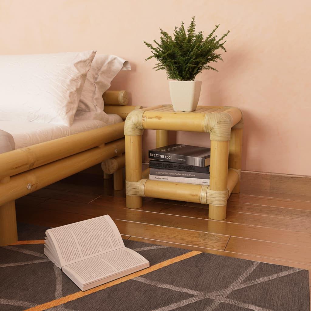 Noćni ormarić od bambusa 40 x 40 x 40 cm prirodna boja