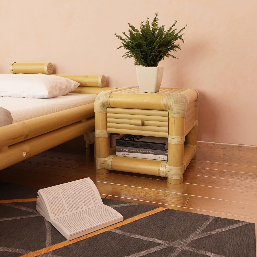 vidaXL Noční stolek, bambus, 45x45x40 cm, přírodní
