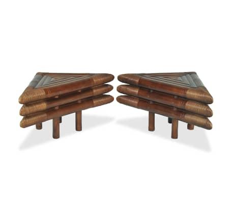 vidaXL Mese de noptieră, 2 buc., maro închis, 60x60x40 cm, bambus