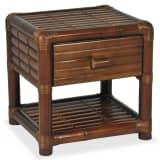 vidaXL Naktinis staliukas, 45x45x40cm, bambukas, tamsiai ruda spalva