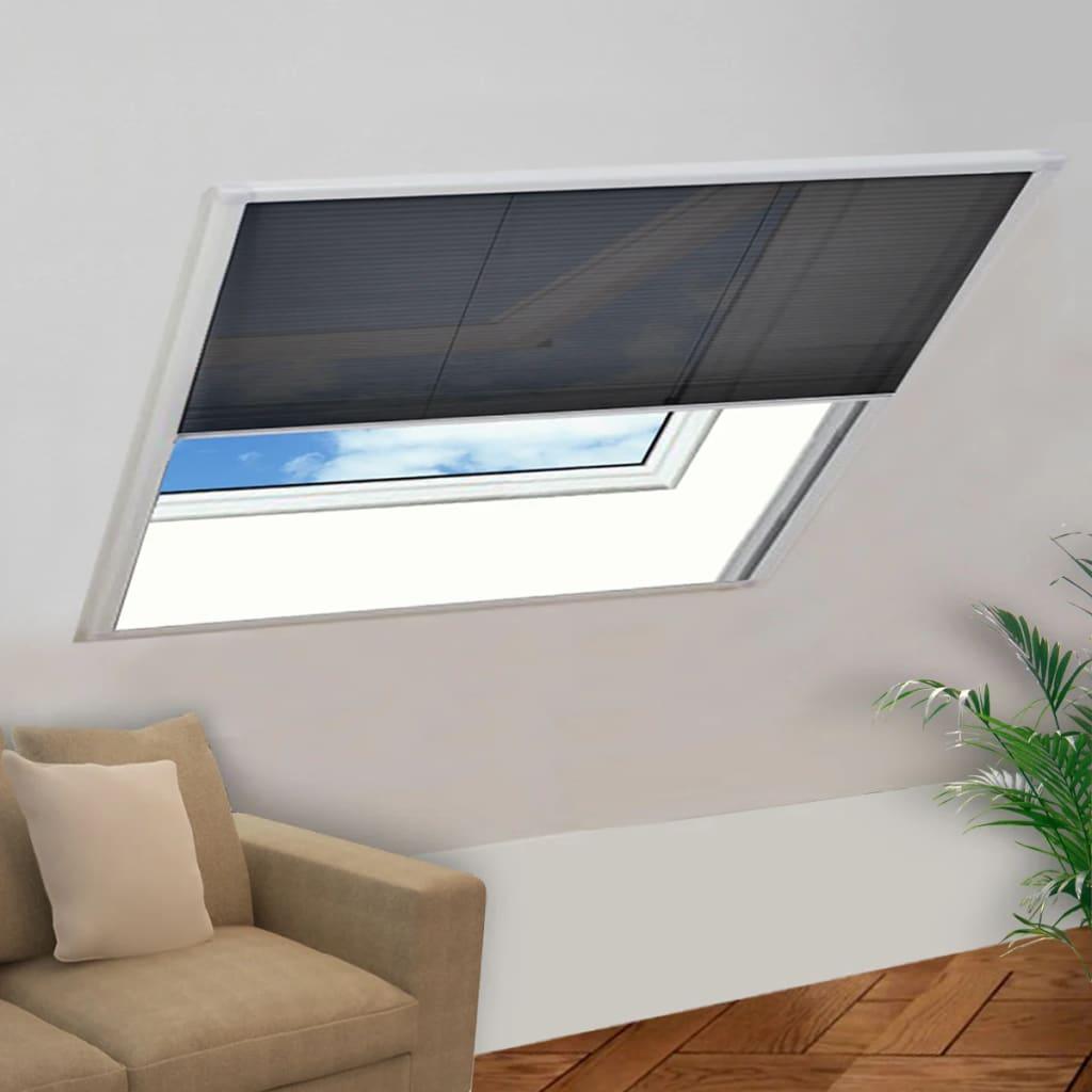 vidaXL Plisovaná okenní síť proti hmyzu, hliník, 120x120 cm