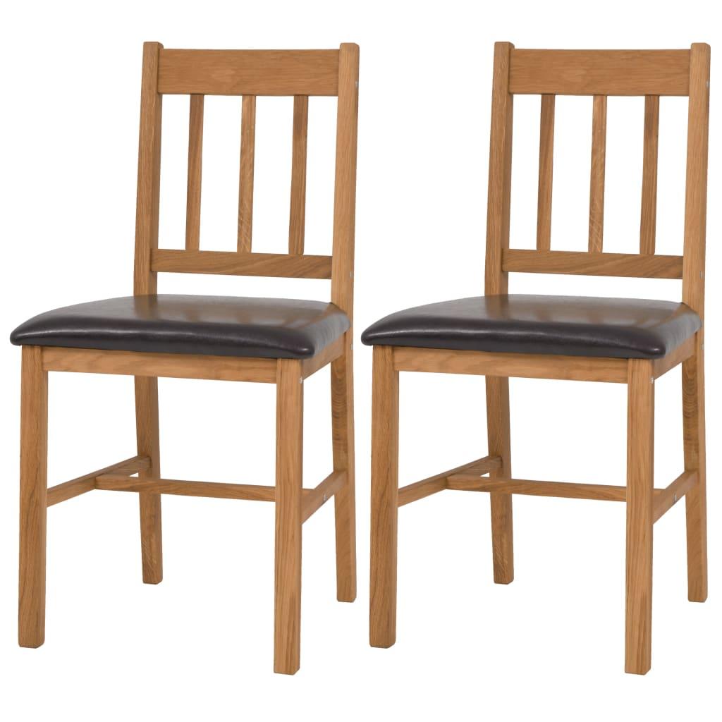 vidaXL Καρέκλες Τραπεζαρίας 2 τεμ. από Μασίφ Ξύλο Δρυός
