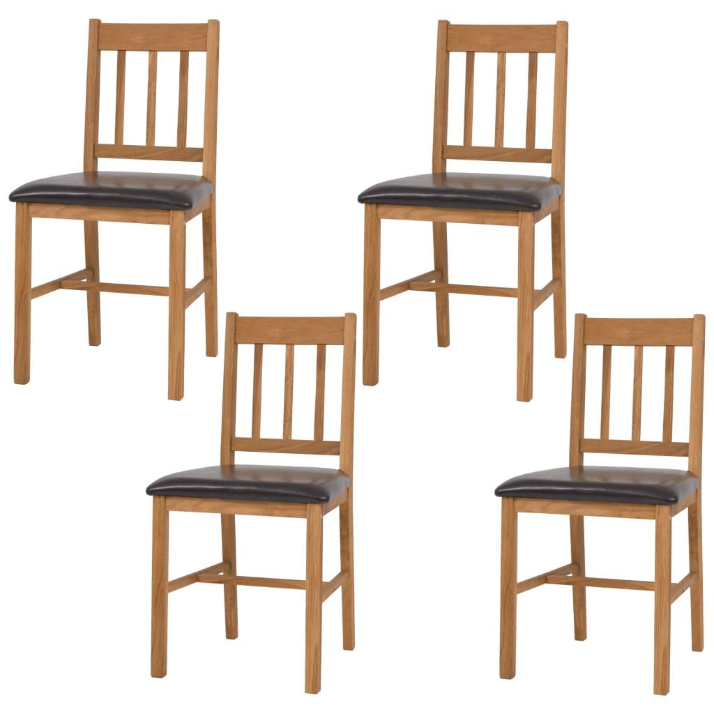 vidaXL Καρέκλες Τραπεζαρίας 4 τεμ. 43 x 48 x 85 εκ. Μασίφ Ξύλο Δρυός