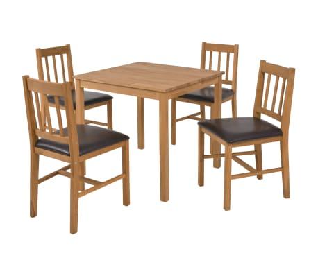 vidaXL 5dílná sada jídelního nábytku, masivní dub