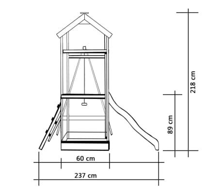 vidaXL Lekställning med rutschkana stege gungor 242x237x218 cm furu[5/7]