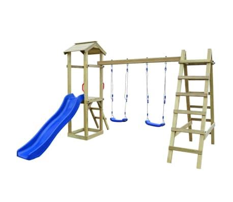 vidaXL Speelhuis met ladder en schommels 286x237x218 cm FSC grenenhout[1/5]