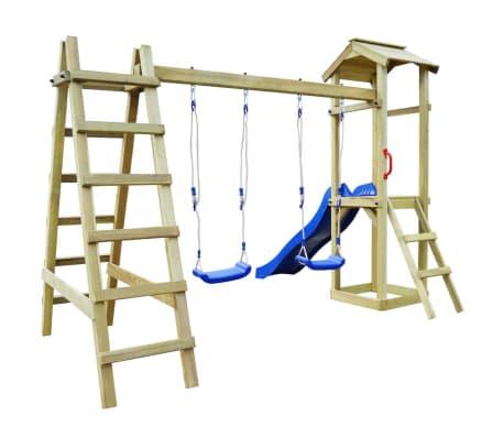 vidaXL Speelhuis met ladder en schommels 286x237x218 cm FSC grenenhout[2/5]