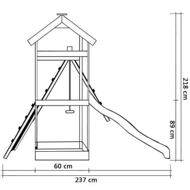vidaXL Speelhuis met ladder en schommels 286x237x218 cm FSC grenenhout[4/5]