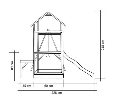 vidaXL Lekställning med rutschkana och gunga 228x168x218 cm furu[6/8]