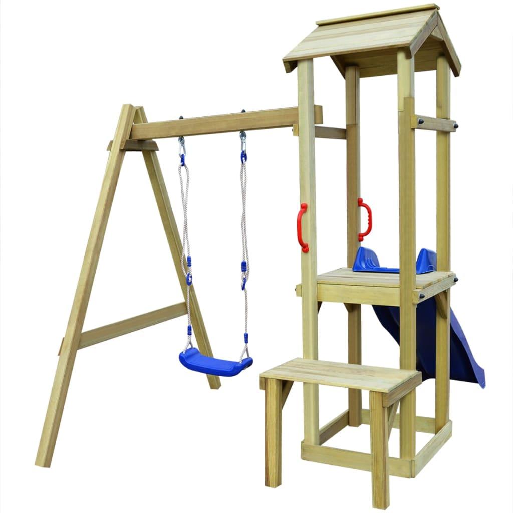 vidaXL Hrací věž, set se skluzavkou a houpačkou 228x168x218 cm borovice