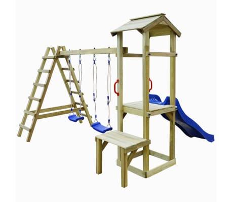 vidaXL Plac zabaw ze zjeżdżalnią, drabinami i huśtawkami, drewno