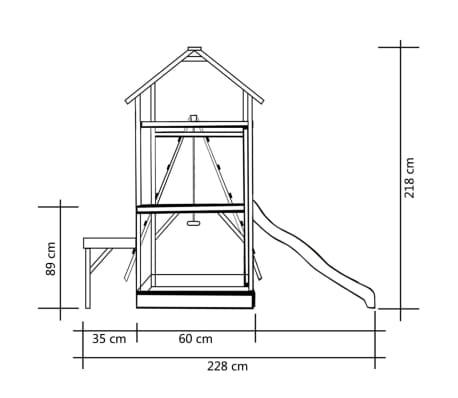 vidaXL Lekställning med rutschkana stegar gungor 286x228x218 cm furu[6/8]