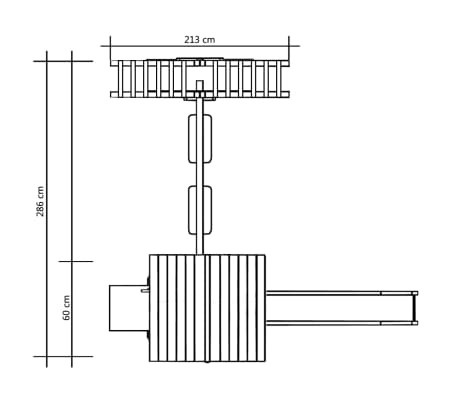 vidaXL Lekställning med rutschkana stegar gungor 286x228x218 cm furu[7/8]