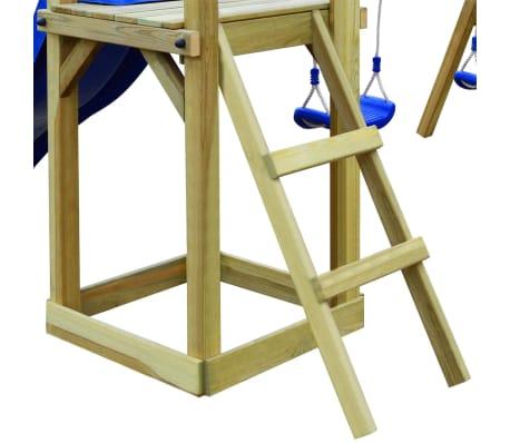 vidaXL Lekställning med rutschkana stege gungor 242x237x175 cm furu[4/8]