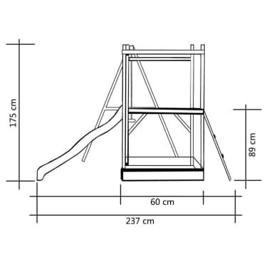 vidaXL Lekställning med rutschkana stege gungor 242x237x175 cm furu[6/8]