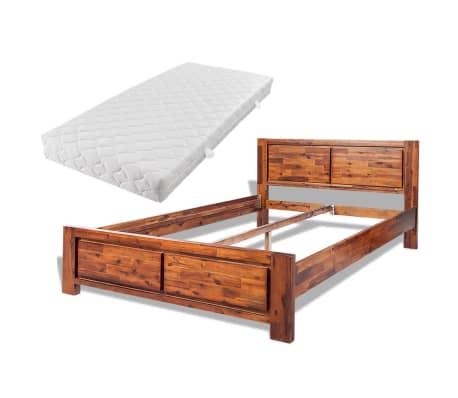 Acheter vidaxl cadre de lit avec matelas bois d 39 acacia - Cadre lit bois massif ...