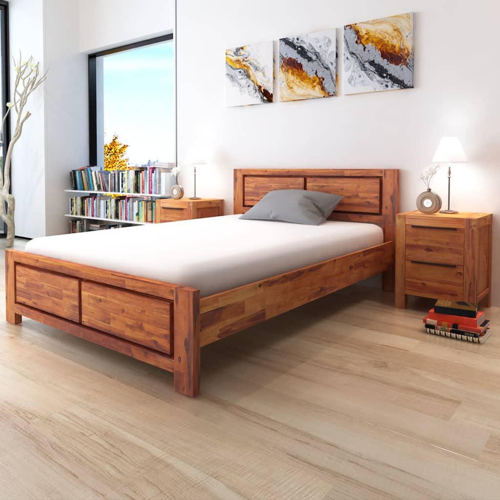 vidaXL Pat cu saltea, 140 x 200 cm, lemn masiv de acacia imagine vidaxl.ro