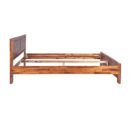 vidaxl bettgestell mit memory matratze akazie massiv braun. Black Bedroom Furniture Sets. Home Design Ideas