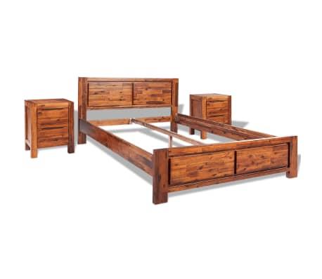 vidaXL Lovos rėmas su spintelėmis, akacijos mediena, rudas, 140x200cm[2/16]