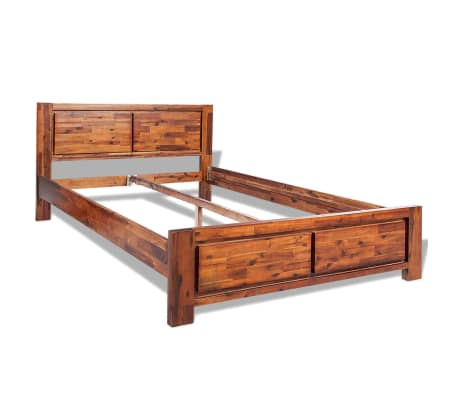 vidaXL Lovos rėmas su spintelėmis, akacijos mediena, rudas, 140x200cm[3/16]