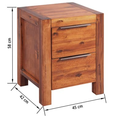 vidaXL Lovos rėmas su spintelėmis, akacijos mediena, rudas, 140x200cm[16/16]