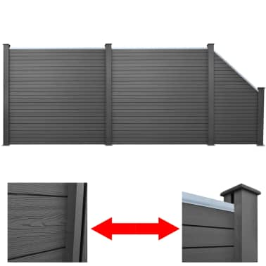 vidaXL Комплект панели за огради 2 квадратни + 1 с откос, WPC, сив[1/12]