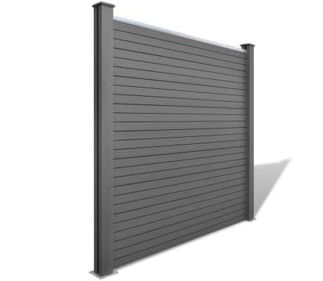 vidaXL Комплект панели за огради 2 квадратни + 1 с откос, WPC, сив[2/12]