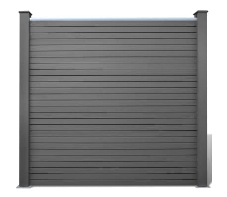 vidaXL Комплект панели за огради 2 квадратни + 1 с откос, WPC, сив[3/12]