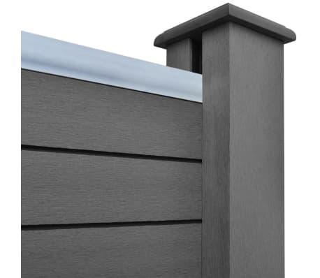 vidaXL Комплект панели за огради 2 квадратни + 1 с откос, WPC, сив[5/12]