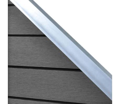 vidaXL Комплект панели за огради 2 квадратни + 1 с откос, WPC, сив[6/12]
