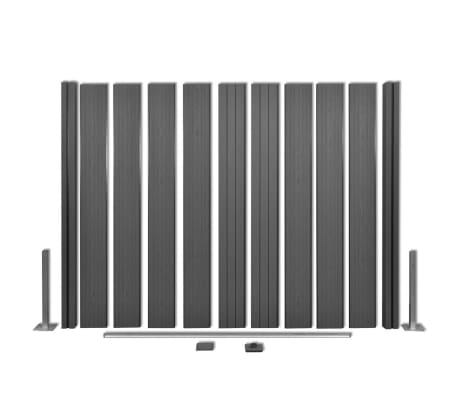 vidaXL Комплект панели за огради 2 квадратни + 1 с откос, WPC, сив[8/12]