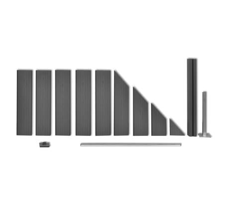 vidaXL Комплект панели за огради 2 квадратни + 1 с откос, WPC, сив[9/12]