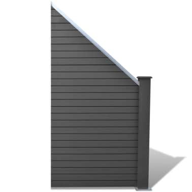 vidaXL Комплект панели за огради 2 квадратни + 1 с откос, WPC, сив[4/12]