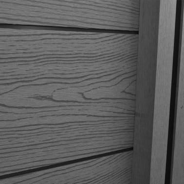 vidaXL Комплект панели за огради 2 квадратни + 1 с откос, WPC, сив[7/12]