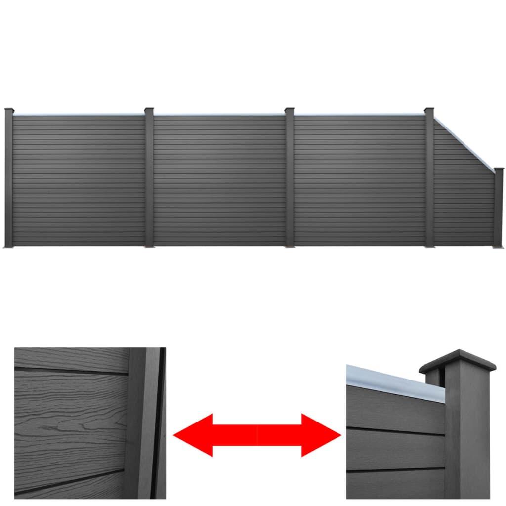 vidaXL Sada plotových dílců 3 čtvercové + 1 šikmý 638 cm WPC šedá