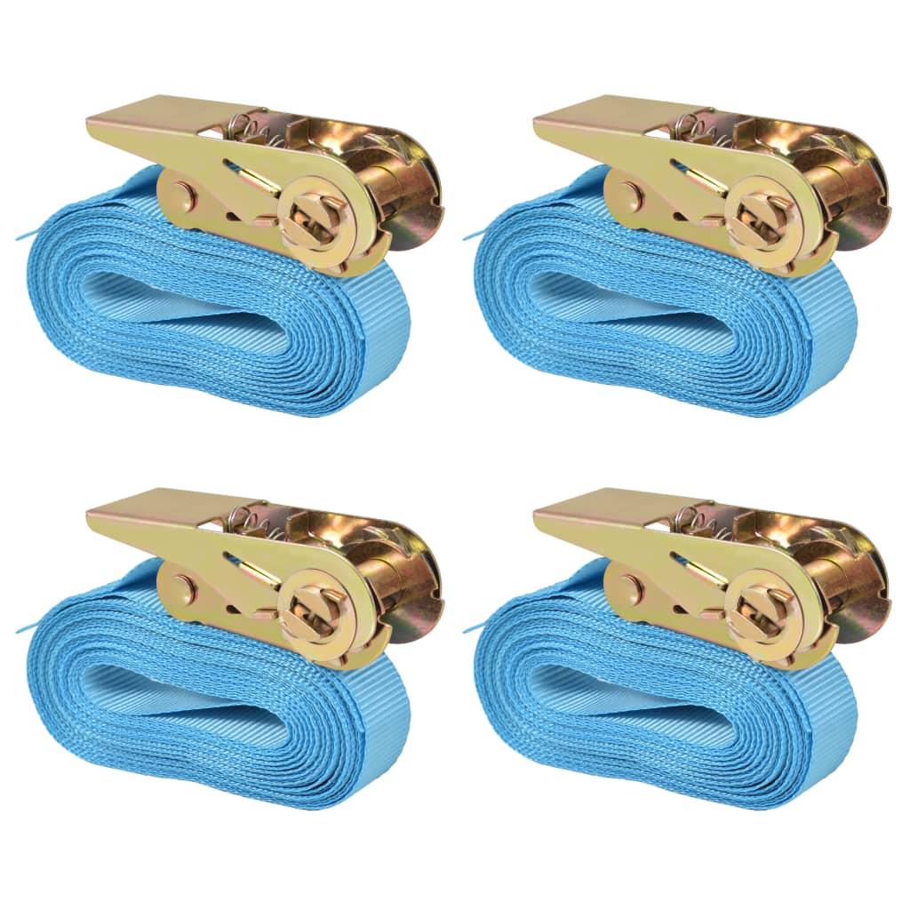 vidaXL Ráčnové upínací pásy 4 ks 0,8 tun 6m x 25mm modré
