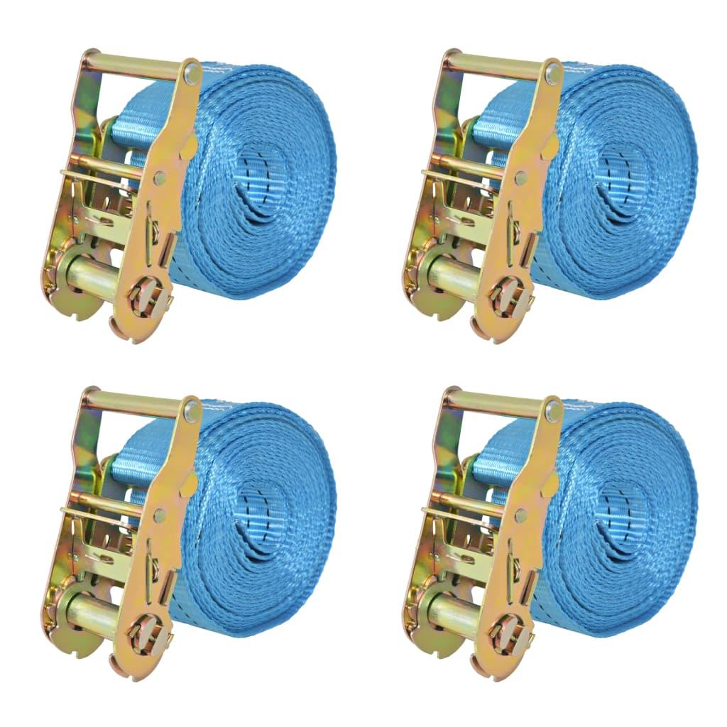 Ráčnové upínací pásy, 4 ks, 2 tuny, 6mx38mm, modré