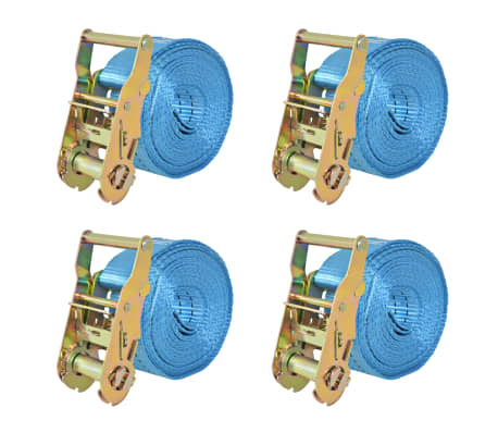 vidaXL Reketo tvirtinamieji dirželiai, 4vnt., 2t., 6mx38mm, mėlyni[1/6]
