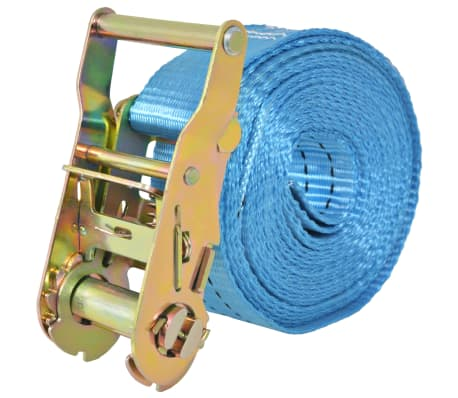 vidaXL Reketo tvirtinamieji dirželiai, 4vnt., 2t., 6mx38mm, mėlyni[3/6]