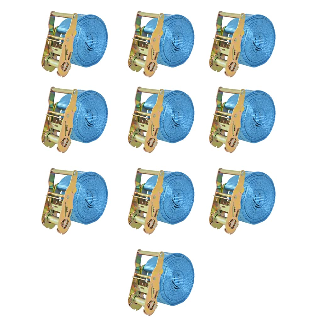 Ráčnové upínací pásy, 10 ks, 2 tuny, 6mx38mm, modré