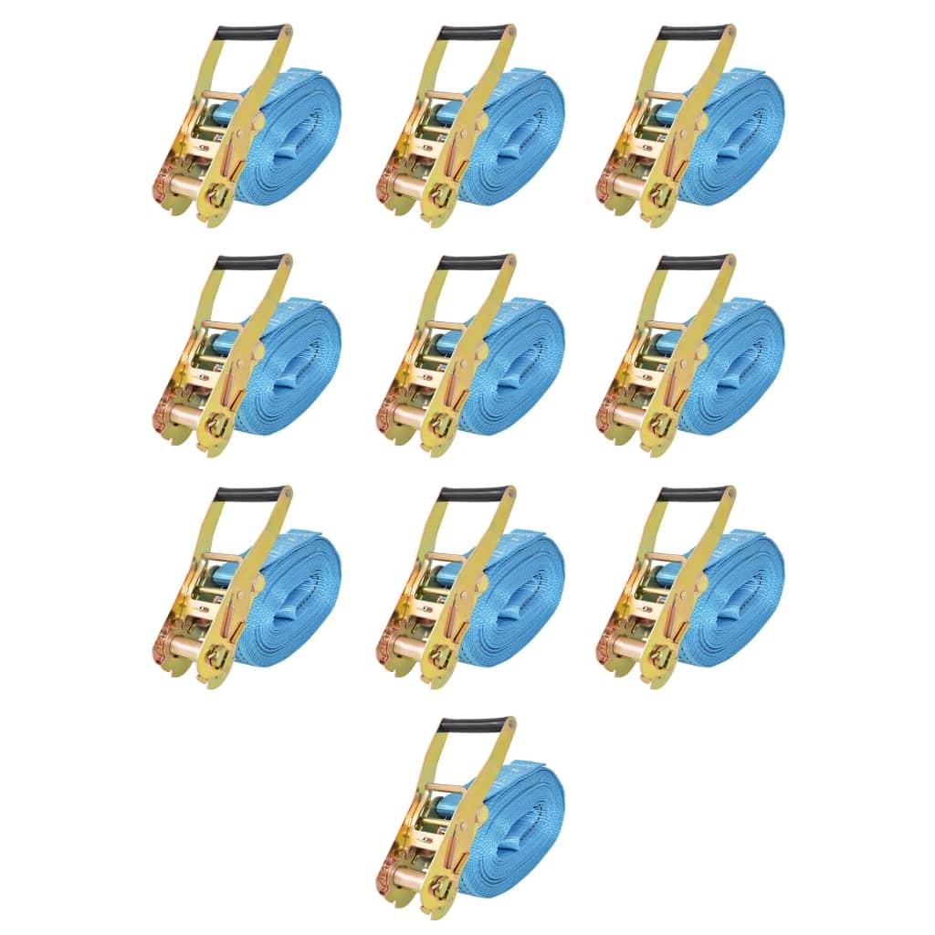 vidaXL Ráčnové upínací pásy, 10 ks, 4 tuny, 8mx50mm, modré