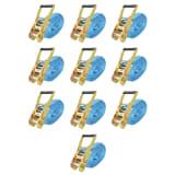 vidaXL Cintas de fixação c/ roquete 10 pcs 4 toneladas 8mx50mm azul