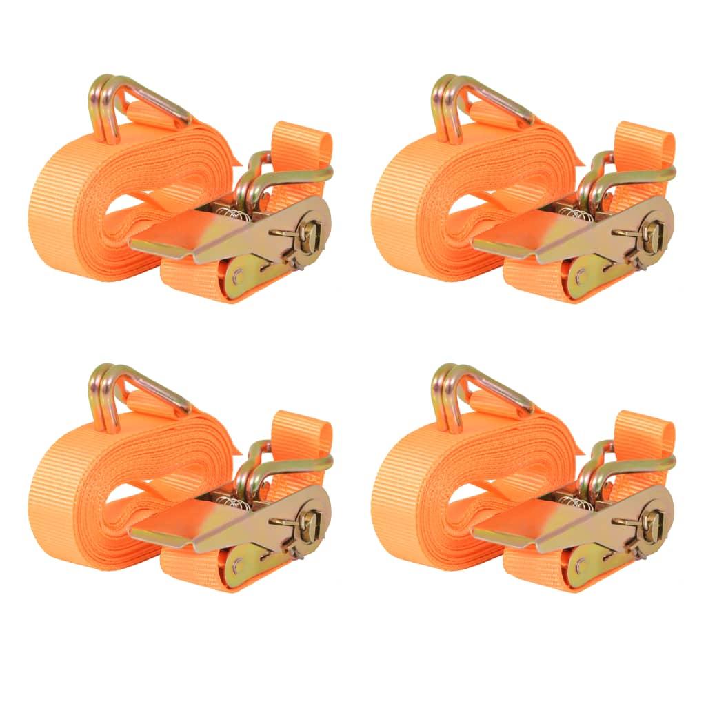 vidaXL Ráčnové upínací pásy, 4 ks, 0,8 tun, 6mx25mm, oranžové