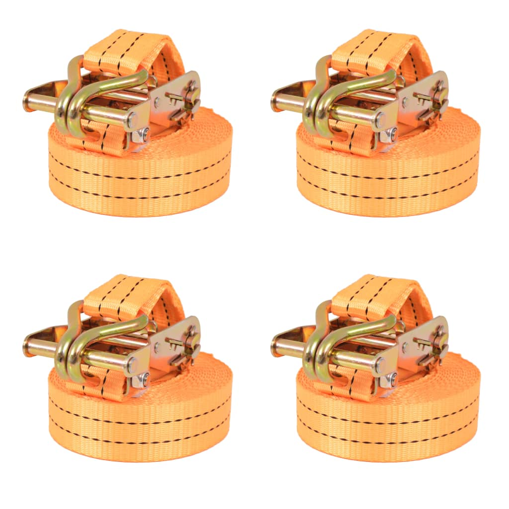 vidaXL Ráčnové upínací pásy, 4 ks, 1 tuna, 6mx38mm, oranžové