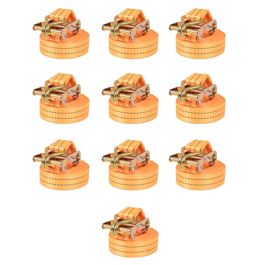 vidaXL Ráčnové upínací pásy, 10 ks, 2 tuny, 6mx38mm, oranžové