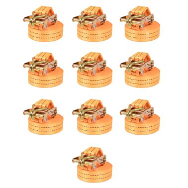 vidaXL Sangle d'arrimage à cliquet 10 pcs 1 tonne 6 m x 38 mm Orange[1/5]